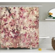 Antique Decor Shower Curtain Set Grungy Effect Cherry Blossoms On Ribbed Bamboo Retro Background Fl