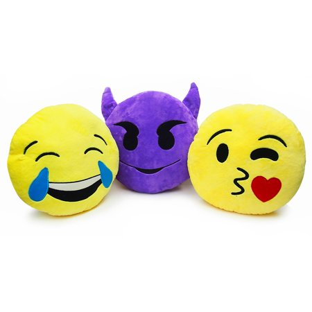 Emoji Pillow: Tears, Devil or Heart (STYLES MAY VARY)