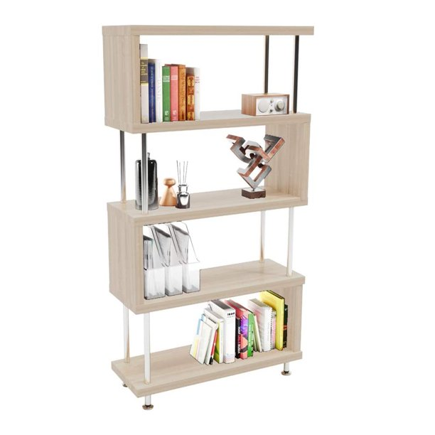 S Shaped 5 Shelf Bookcase Wooden Z Shaped 5 Tier Etagere Bookshelf Stand For Home Office Living Room Decor Books Display Light Beige Walmart Com Walmart Com