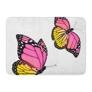 GODPOK Green Celebration Black Beauty Two Color Butterfly White Colorful Bright Pink Collection Rug Doormat Bath Mat 23.6x15.7 inch