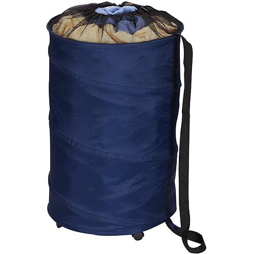 Household Essentials Rolling Pop-Up Laundry Hamper, Blue
