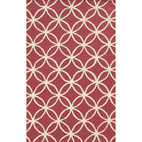 Rizzy Home  Eden Harbor Hand-Tufted Pink Geometric Blended Wool Area Rug (3' x 5')