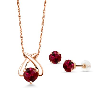 3.00 Ct Round Red Created Ruby 10K Rose Gold Pendant Earrings Set (Pendant Earrings Set)