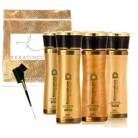 Keratin Cure Best Hair Treatment Gold and Honey Bio-Brazilian Silky Soft Formaldehyde Free Complex with Argan Oil Nourishing Straightening Damaged Dry Frizzy Coarse Kit (5 oz (The Best Brazilian Hair)