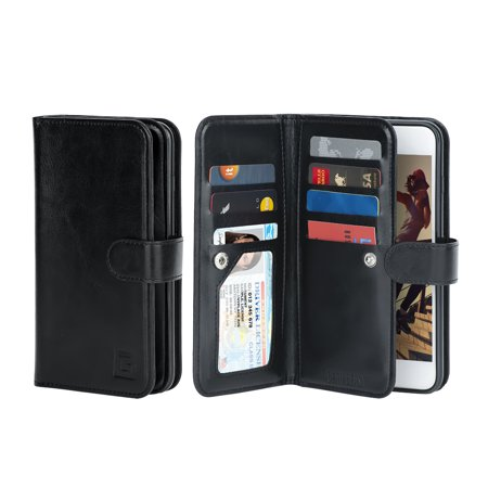 the latest e9f14 abb6c iPhone SE / 5 / 5s Case, Gear Beast Dual Wallet Case Slim Protective PU  Leather Case Folio, 7 CARD SLOTS, 2 LARGE INNER POCKETS and protective TPU  ...