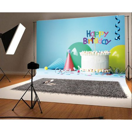 GreenDecor Polyster 7x5ft Happy Birthday Backdrop Ribbon Cakes Cartoon Hats Balloons Baby Blue Wallpaper Photography Background Boys Girls Party Photo Studio Props](Baby Girl Background)