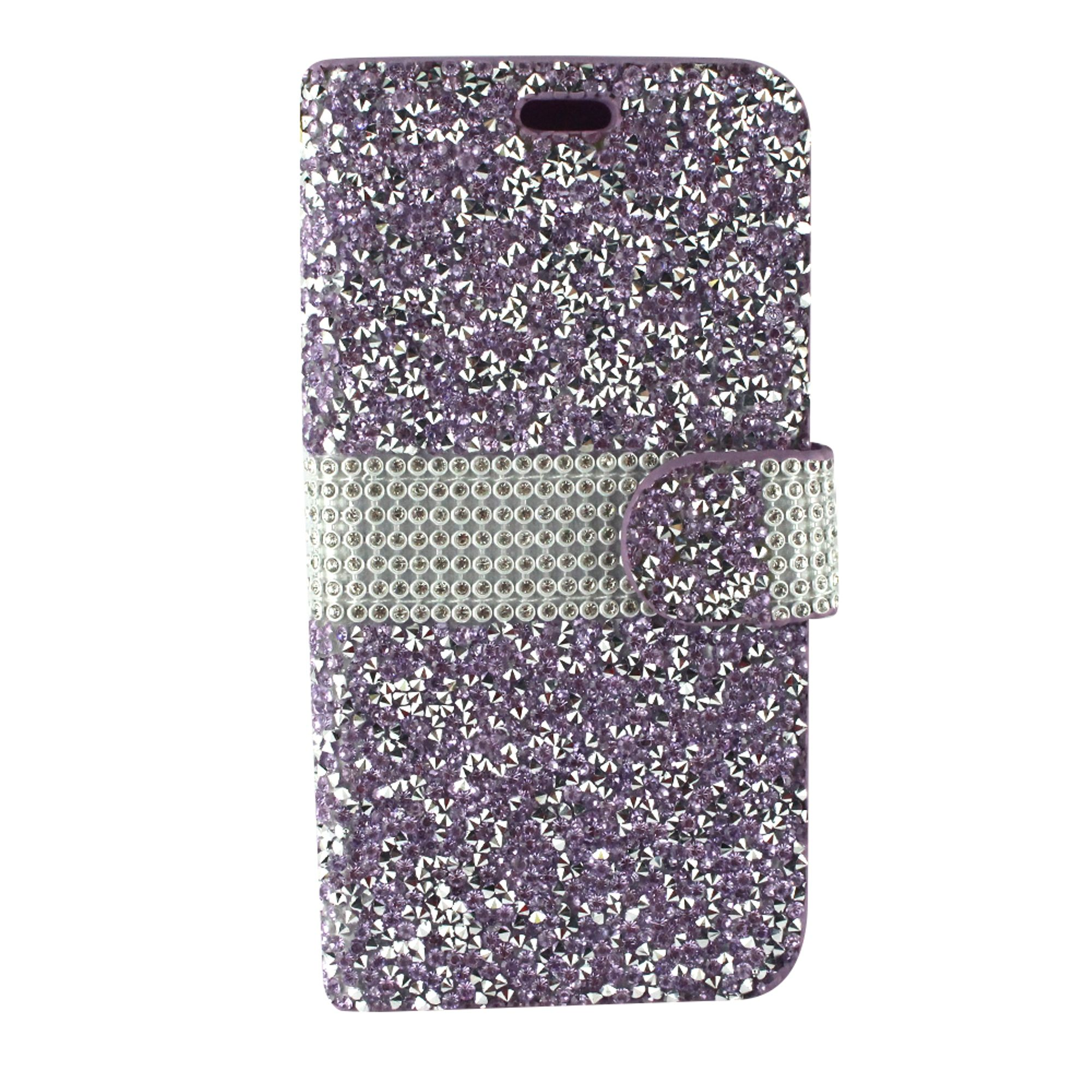 LG Aristo 2 phone case by Insten Book-Style Rhinestone Diamond Bling Leather [Card Holder Slot] Wallet Pouch Case Cover For LG Aristo 2/K8 (2018)/Tribute Dynasty