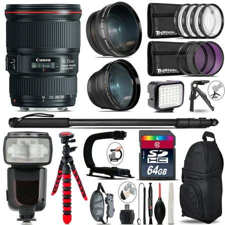 Canon 16 35Mm Is Usm   Pro Flash   Led Light   Tripod   64Gb Accessory Bundle