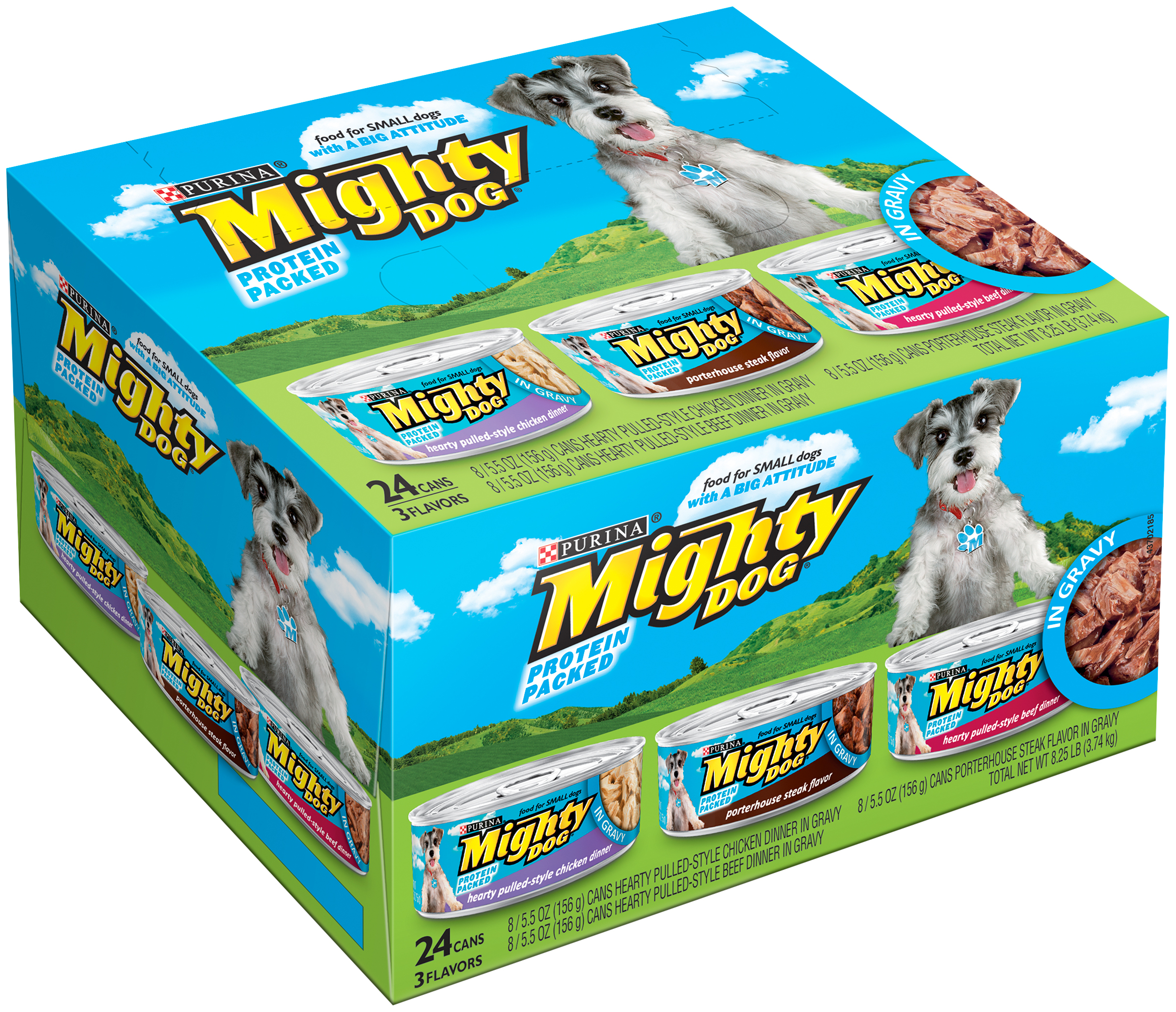 Purina Mighty Dog Hearty Pulled-Style Chicken Dinner in Gravy/Hearty Pulled-Style Beef Dinner in Gravy/Porterhouse Steak Flavor in Gravy Dog Food Variety Pack 12-5.5 oz. Cans