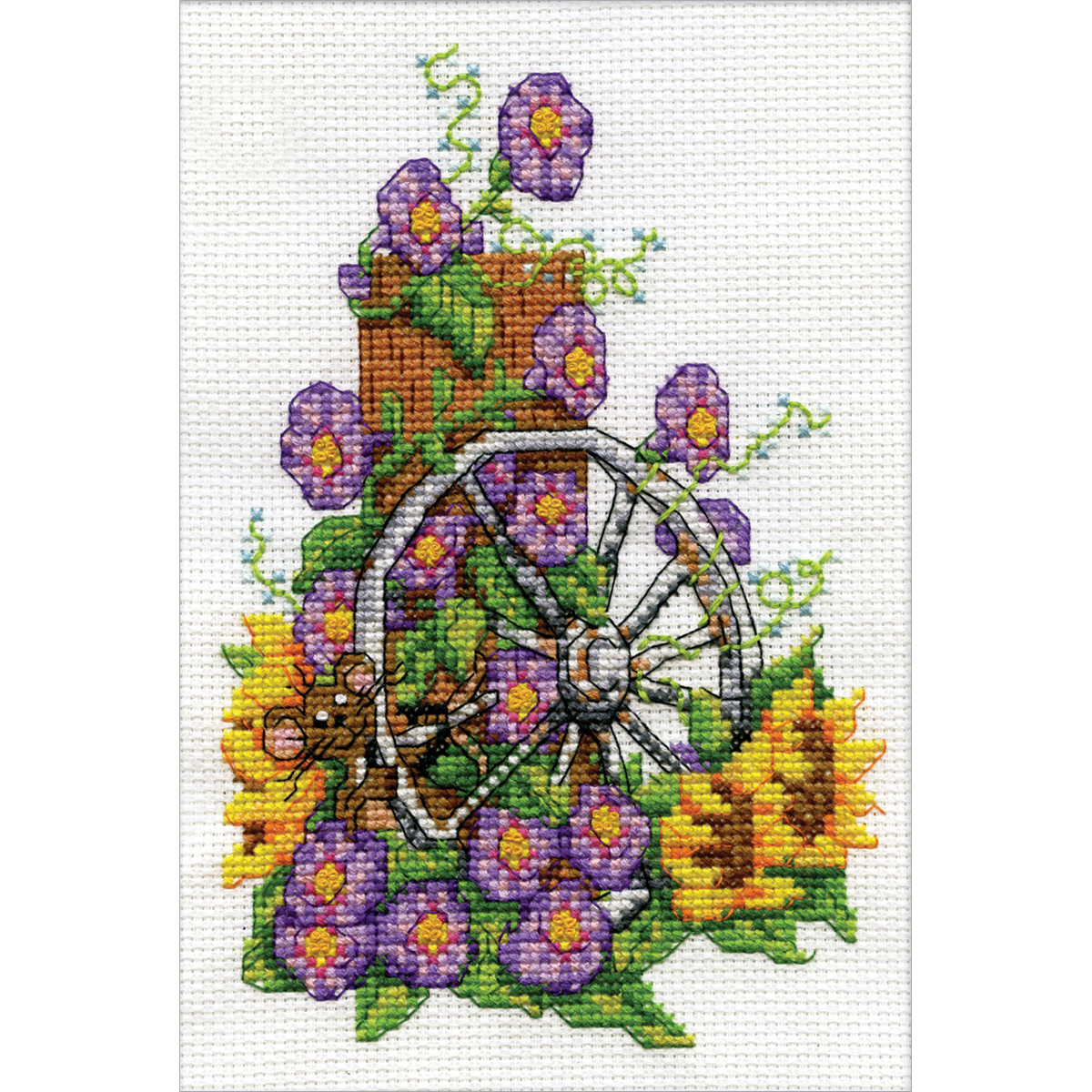 """Design Works Counted Cross Stitch Kit 5""""X7""""-Wagon Wheel Mouse Mini (14 Count)"""
