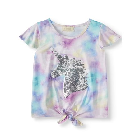 Sequin Unicorn Tie-Dye Flutter Sleeve Top (Big Girls) 16 Flutter Sleeved Tee