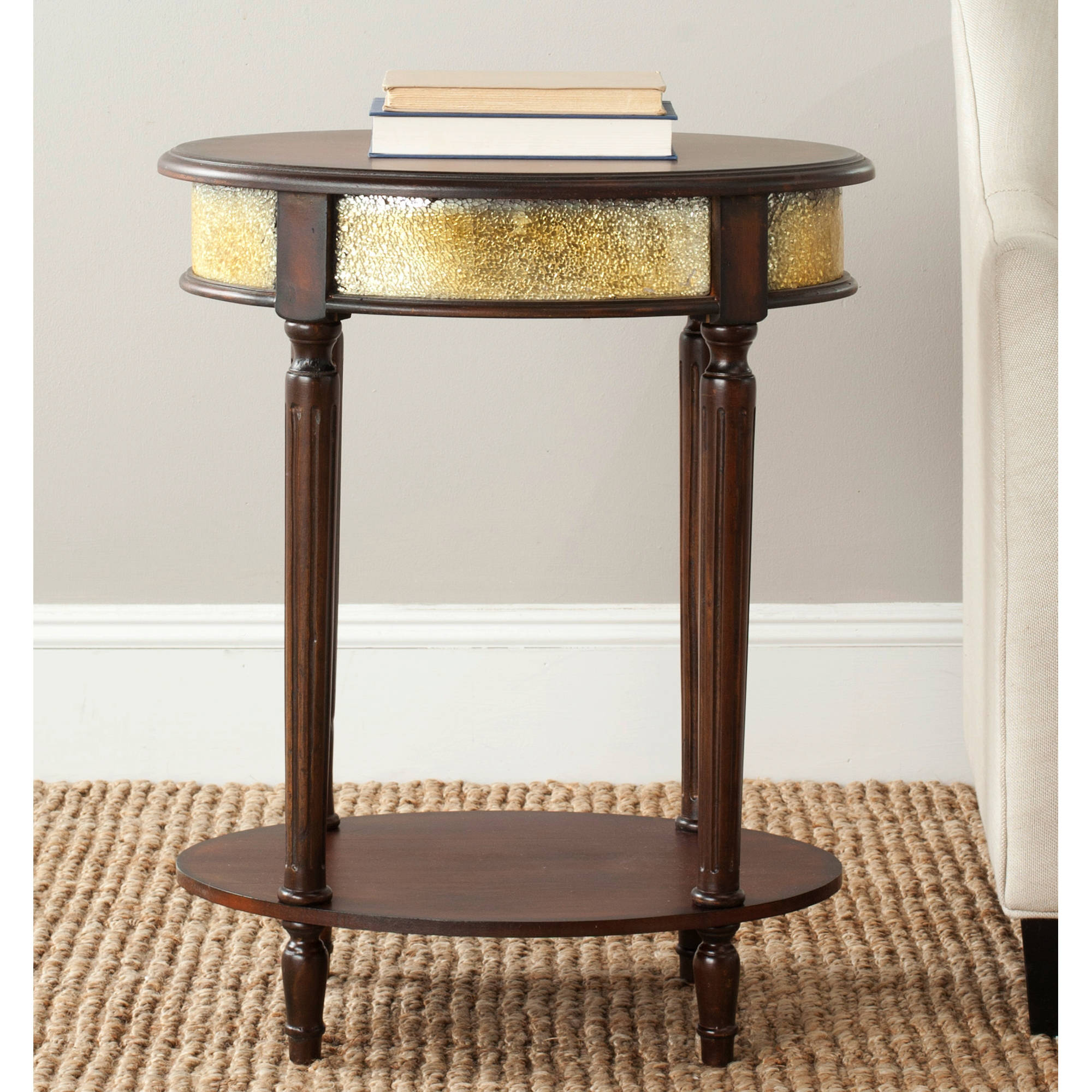Safavieh Bernice Side Table, Dark Brown and Gold
