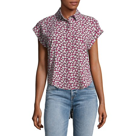 Floral Hi-Lo Buttoned Top