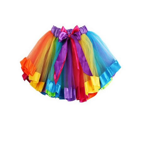 TopTie Girls Layered Rainbow Tutu Skirt Dance Dress Ruffle Tiered Clubwear-M