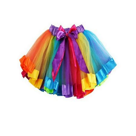 TopTie Girls Layered Rainbow Tutu Skirt Dance Dress Ruffle Tiered Clubwear-M