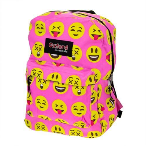 Kids Oxford Essentials Emoji 15 Backpack Emoticon Faces Bag For School Camping by