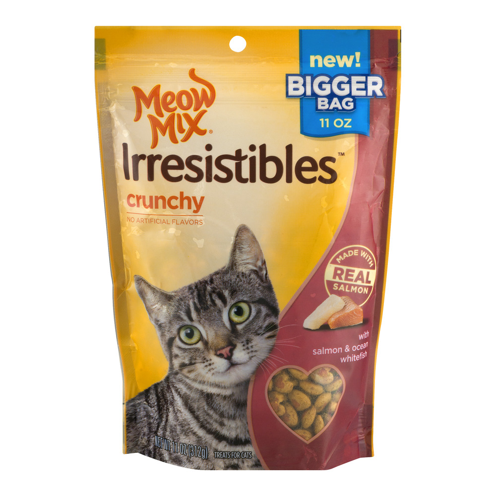 Meow Mix Irresistibles Crunchy Treats For Cats Salmon & Ocean Whitefish, 11.0 OZ