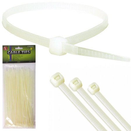 100PC 8 Inch Cable Ties Heavy Duty 30 lbs Nylon Plastic Wrap Zip Ties Cord Clear ()