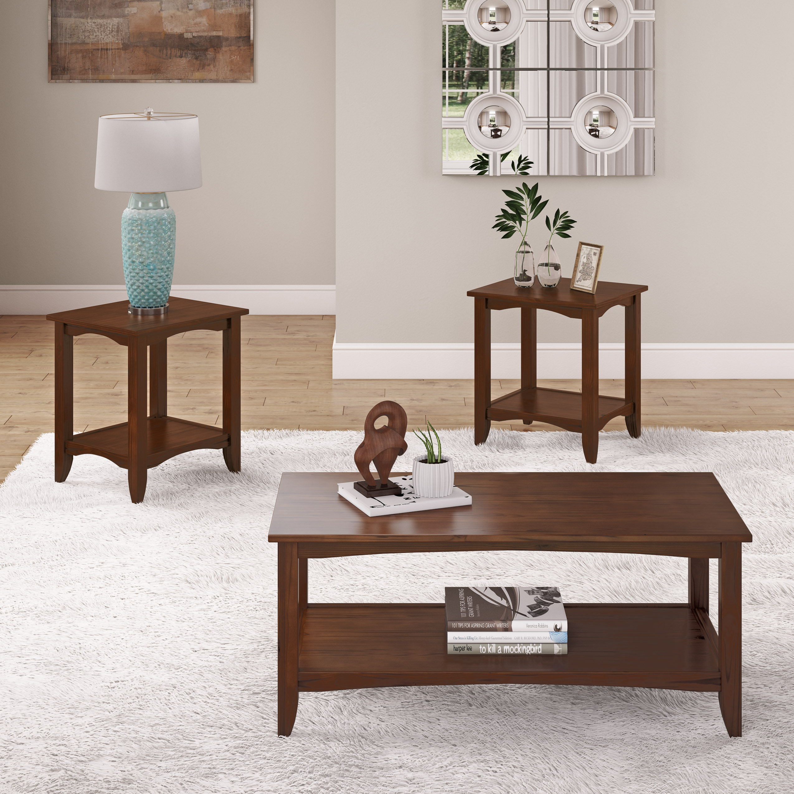 CorLiving Cambridge 3pc Solid Wood Two-Tiered Coffee Table and End Tables Set