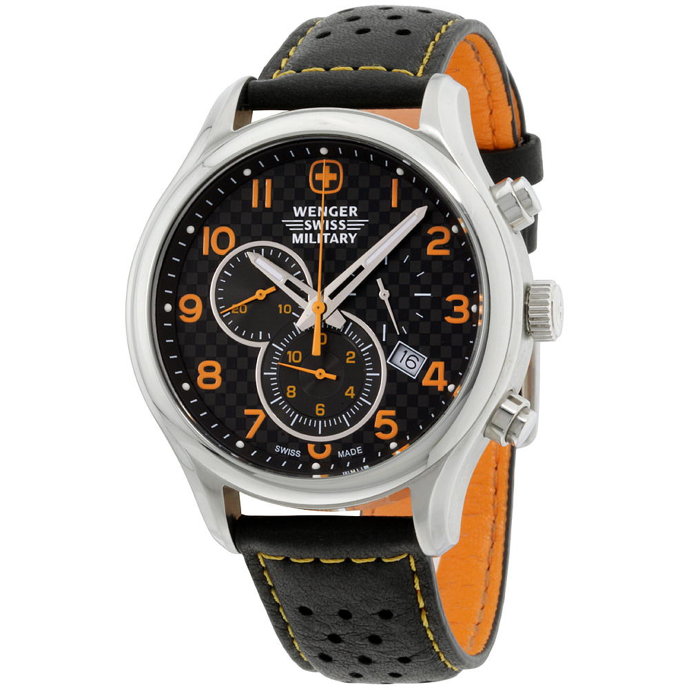 Wenger Swiss Military Black Dial Leather Strap Men's Watc...