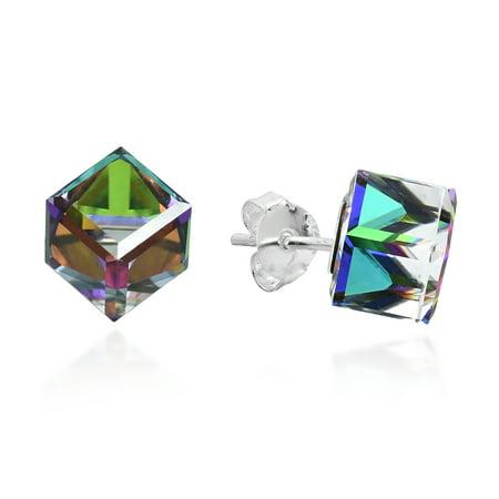 Rainbow Crystal Prism Cube .925 Sterling Silver Stud Earrings (Rainbow Earrings)