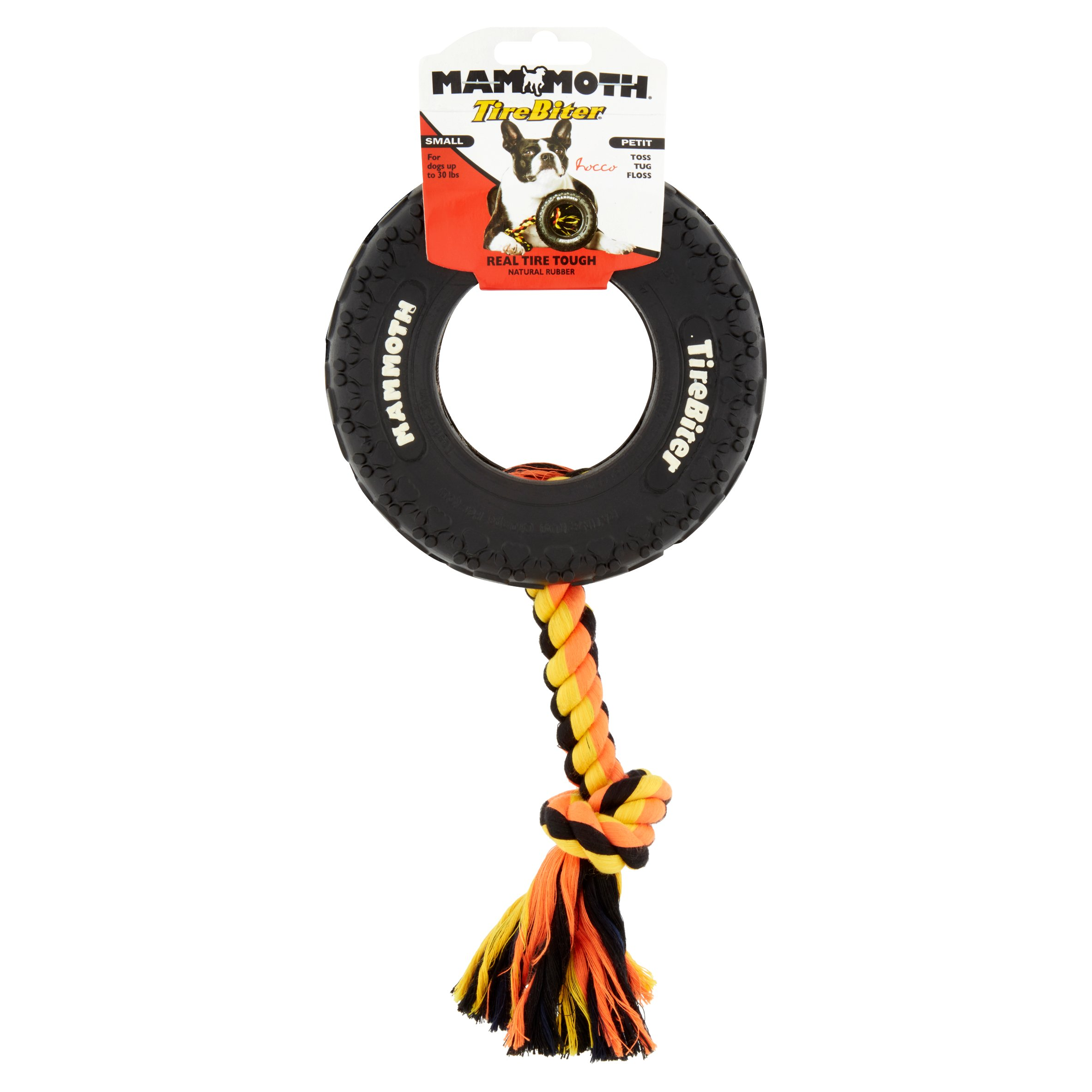 Mammoth TireBiter Tire & Rope Dog Toy, 6''
