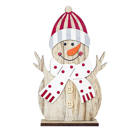 Snowman Christmas Decorations Wooden Shapes Ornaments Craft Xmas -