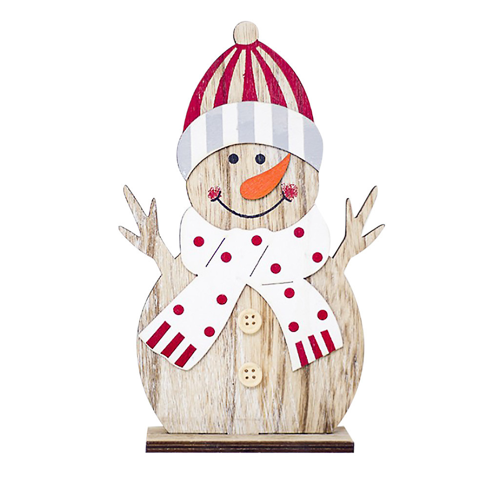 Snowman Christmas Decorations Wooden Shapes Ornaments Craft Xmas Gifts