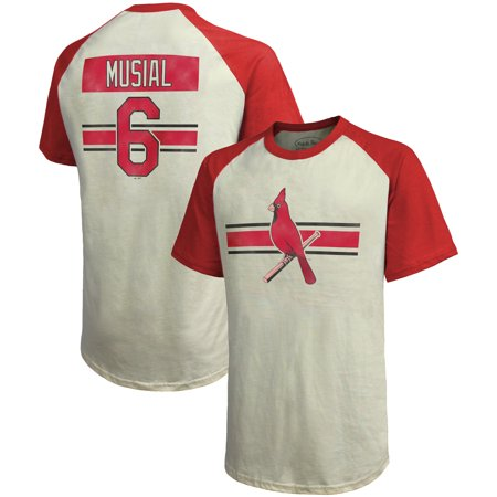 Stan Musial St. Louis Cardinals Majestic Threads Cooperstown Collection Hard Hit Player Name & Number Raglan T-Shirt - Cream/Red