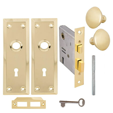 Skeleton Keyed Brass Plated Inside Mortise Lock Kit ()