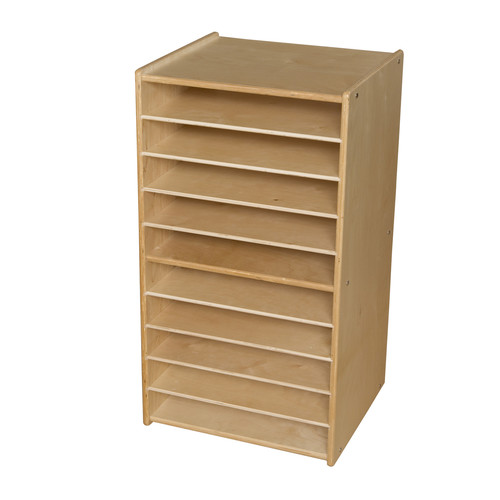 Wood Designs Paper and Puzzle 10 Compartment Cubby with Casters