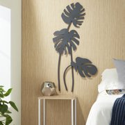 "Decmode - Large Black Palm Leaf Sculptures Metal Wall Decor, 21"" x 42"""