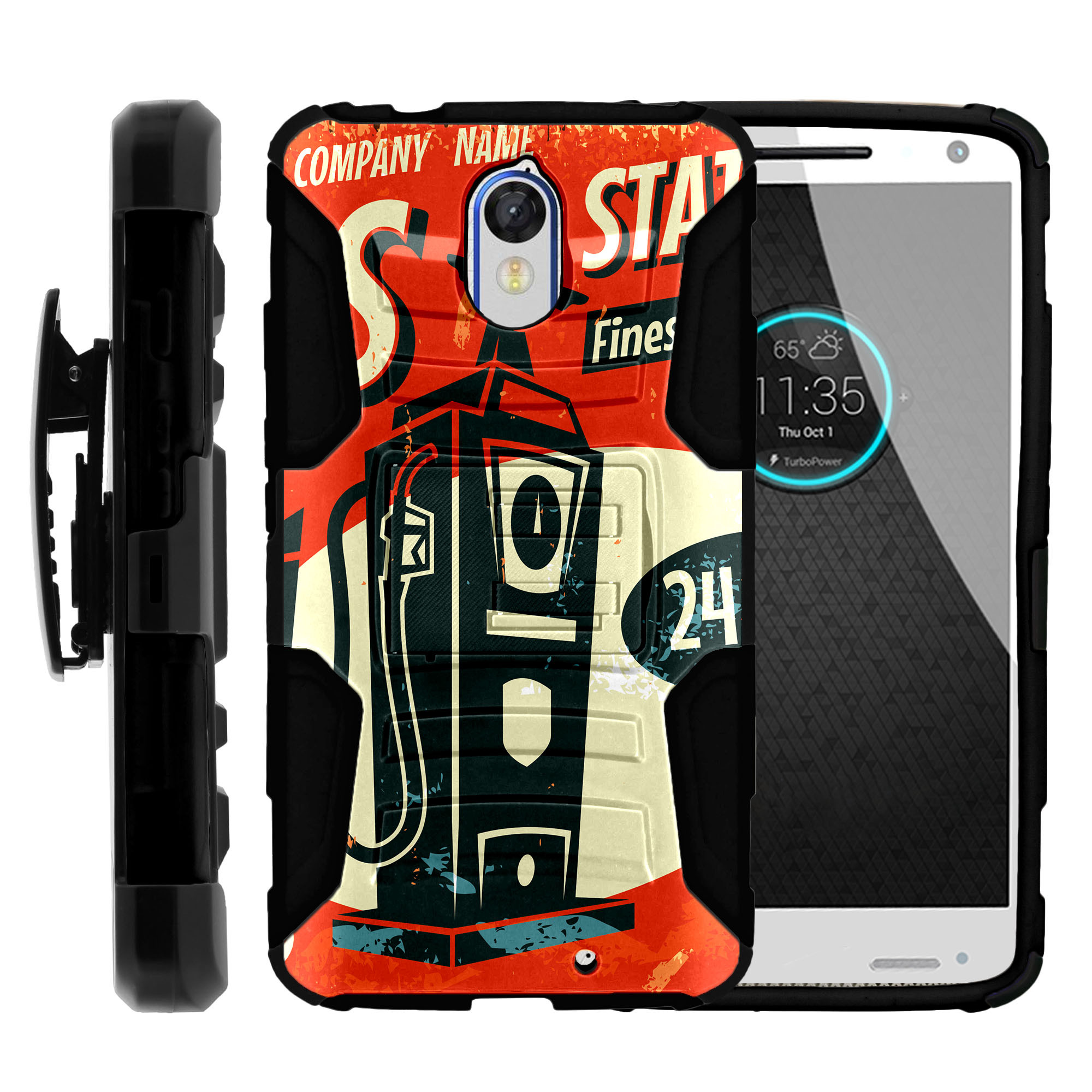 Motorola Droid Turbo 2 XT1585 Miniturtle® Clip Armor Dual Layer Case Rugged Exterior with Built in Kickstand + Holster - Vintage Gas Sign