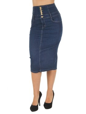 7afb6677d65bc Product Image Women s Juniors High Waist Long   Knee Length Midi Pencil  Denim Skirt