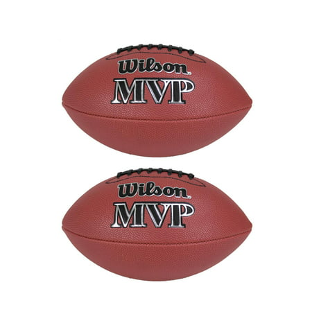 All Weather Leather Football - Wilson MVP Junior Size Leather Composite American Sport Football Ball (2 Pack)