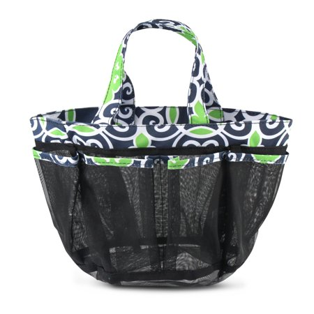 Mesh Shower Caddie Tote Carry Bag by Zodaca Hanging Toiletry Bath Organizer for Sports Travel Gym - Green/Navy Swirls](Shower Bags)