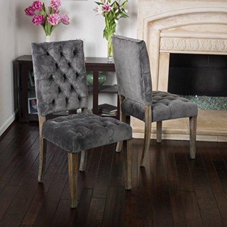 (Rustic Modern Velvet Upholstery Tufted High Back Set of 2 Accent Dining Chairs with Oak Wood Legs (Gray))