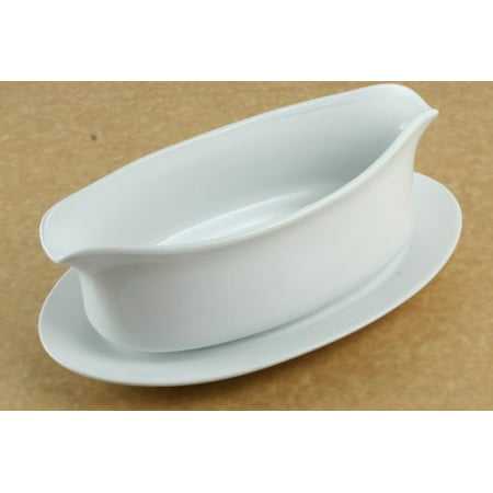 Harold Import Company HIC Gravy Boat with Attached Saucer, Fine Porcelain, 18 oz, White