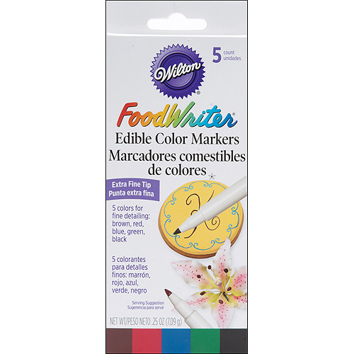 "Wilton FoodWriter"" Extra-Fine Tip Edible Color Markers, Assorted Colors .25 oz., 5 ct. 609-105"