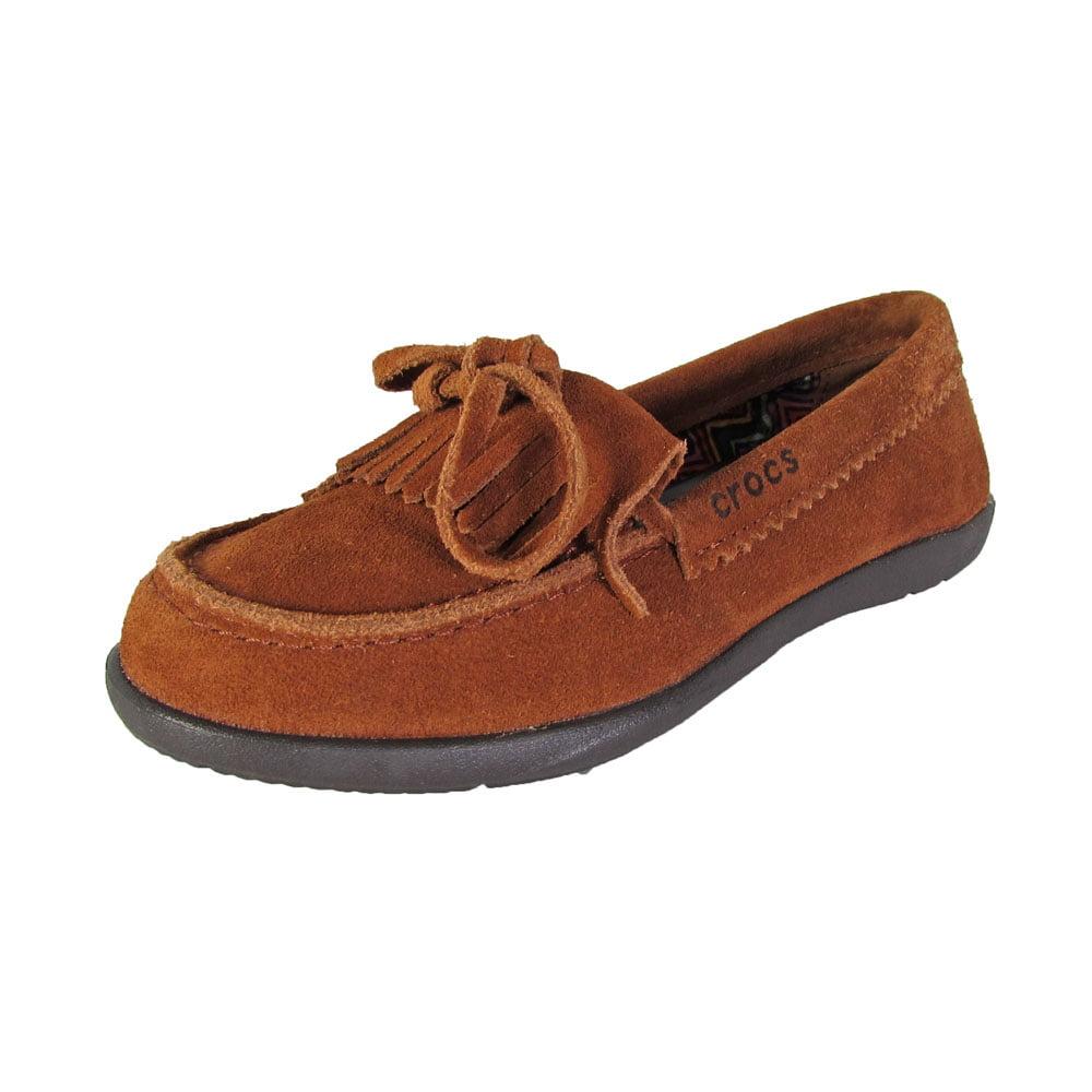 Crocs Womens Adela Suede Moc Slip On Loafer Shoes, Cinnamon/Espresso, US 4