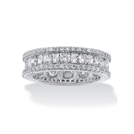 3.22 TCW Round and Baguette-Cut Cubic Zirconia Eternity Channel Ring Platinum over Sterling Silver