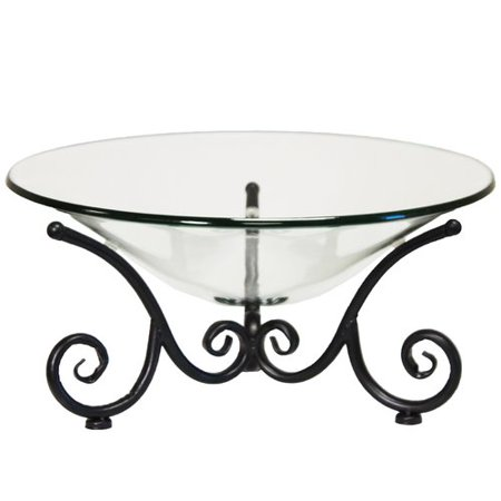 Glass Decorative Bowl (Urban Designs Decorative Iron Scroll Stand with Round Glass Bowl )