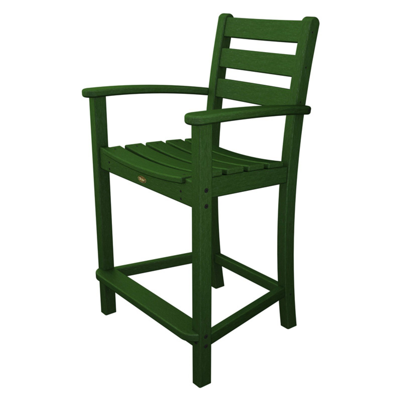 Trex Outdoor Furniture Recycled Plastic Monterey Bay Counter Height Arm  Chair