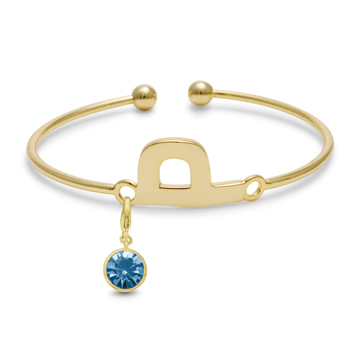Initial Bangle Bracelet With Aquamarine Crystal Birthstone, For March Babies