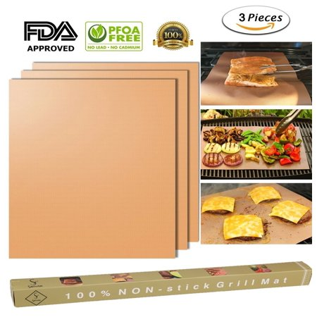 【holiday Gifts】copper Grill Mat Set Of 3 100 Non Stick