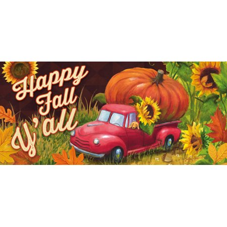 Evergreen Happy Fall Y'all Decorative Mat Insert, 10 x 22 inches ()