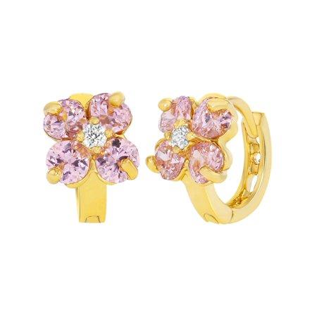14k Gold Plated Pink White Crystal Flower Huggie Hoop Earrings S 10mm