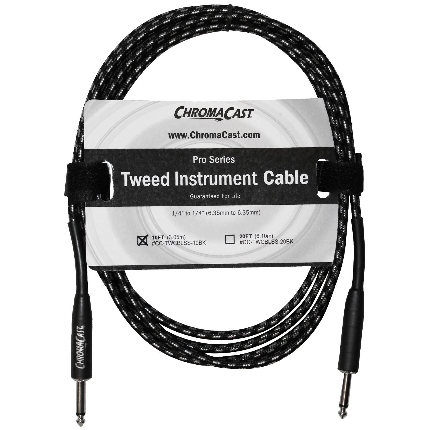 """ChromaCast Pro Series Tweed Instrument Cable 10 Feet, Black, 1 4"""" Straight to 1... by ChromaCast"""