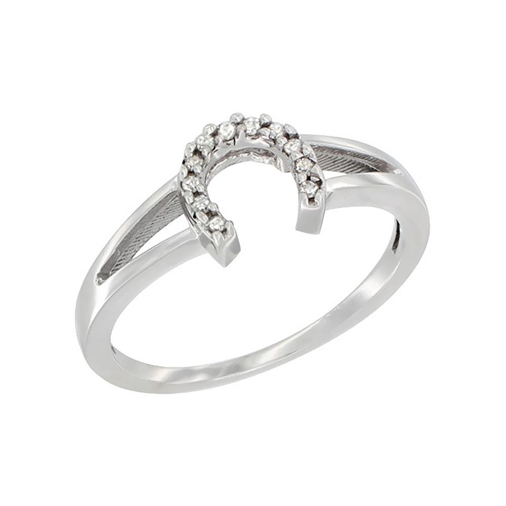 14K White Gold Ladies Diamond Horseshoe Ring, 1/4 inch wi...