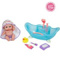 "JC Toys Lil'Cutesises 8.5"" Baby Doll in Bathtub with Fun Accessories - All-Vinyl"